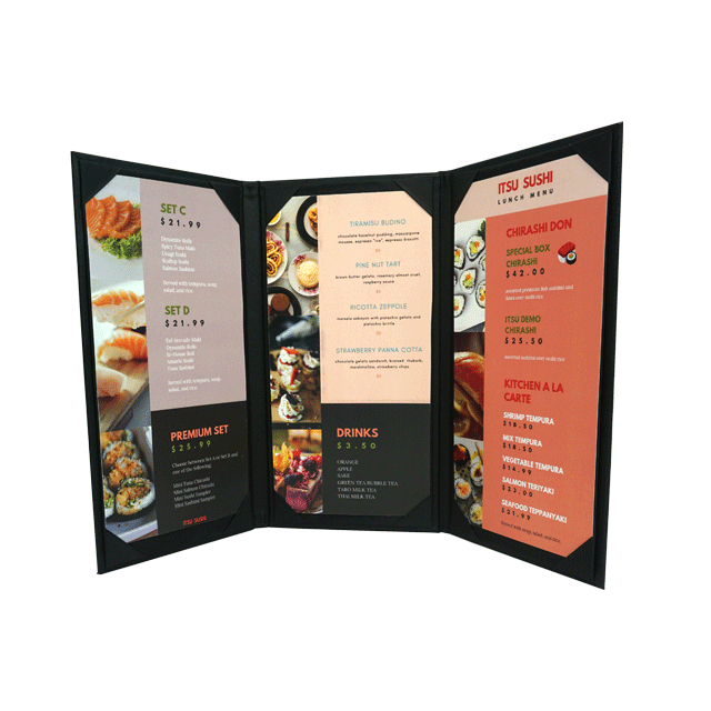 orion custom restaurant menu cover angled open