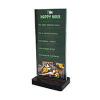 restaurant table top menu displays gta hop inc